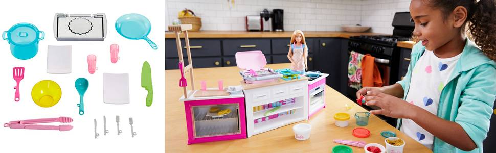 barbie kitchen playset wall art buy ultimate with doll dolls furniture argos