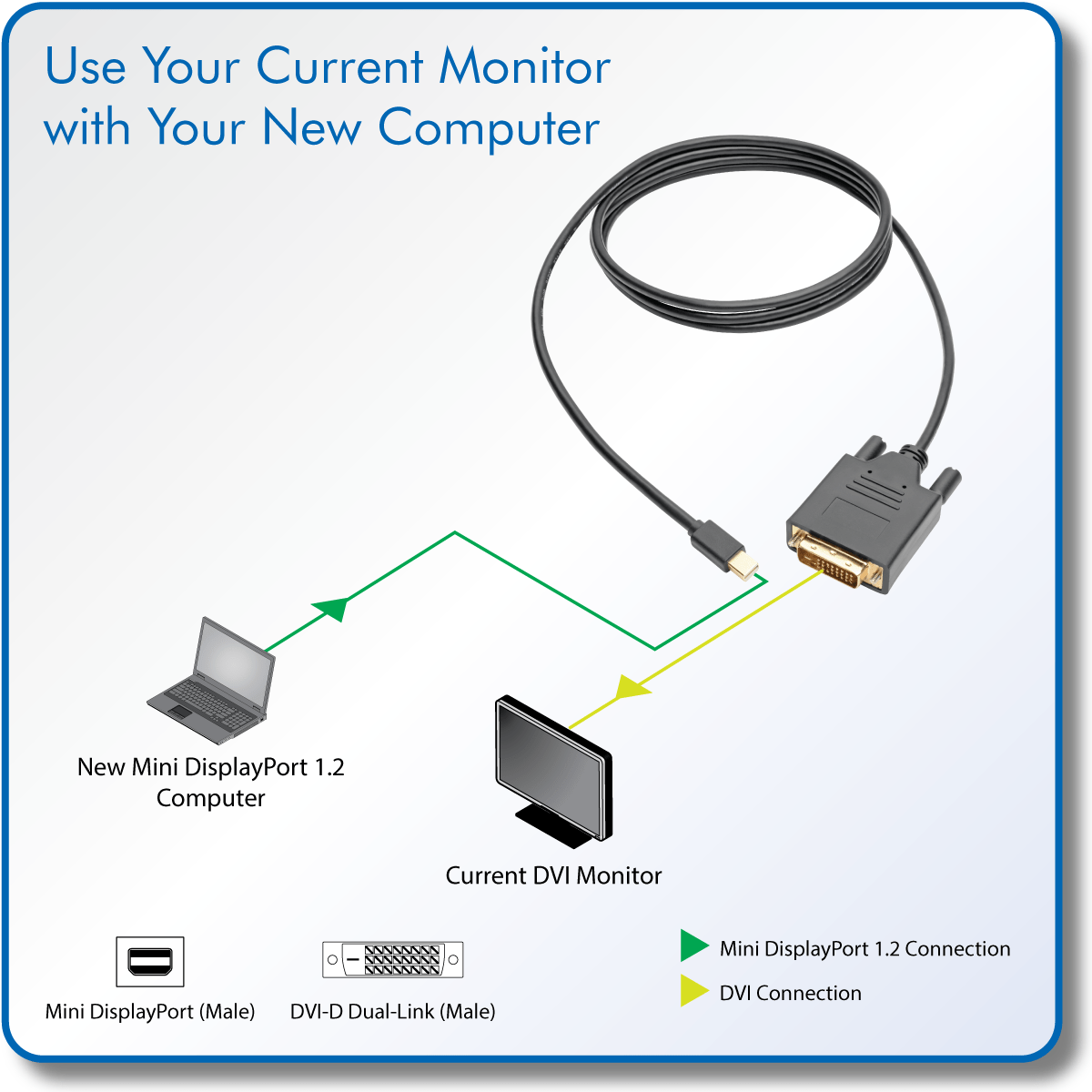 hight resolution of tripp lite 6ft mini displayport to dvi adapter active converter mdp to dvi 1920 x shi com