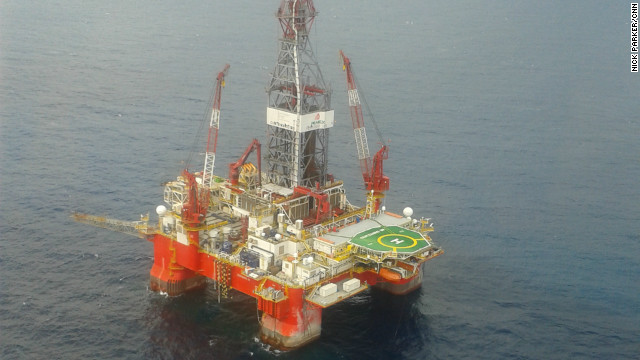 An exploration rig used for finding deep water oil reserves in the Gulf of Mexico