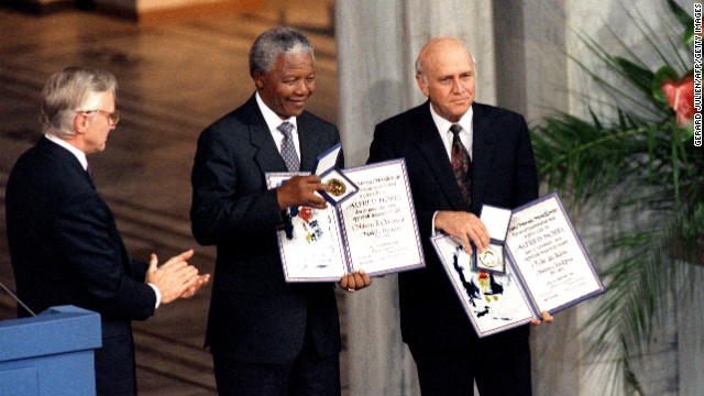 South African President Frederik de Klerk and Mandela shared a Nobel Peace Prize in 1993 for their work to secure a peaceful transition from apartheid rule.