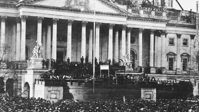 A crowd gathers for the  inauguration of Abraham Lincoln on March 4, 1861.