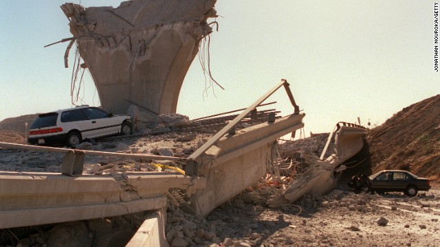 Sections of freeway ramps collapsed during the Northridge earthquake in 1994.