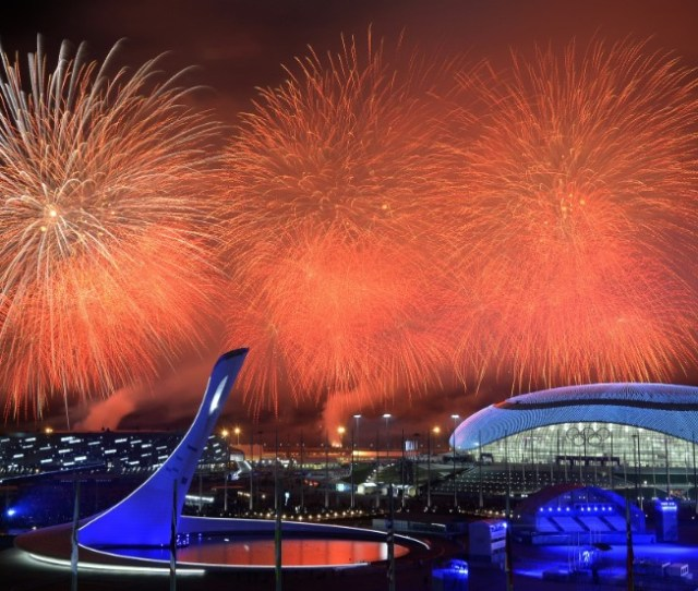 Fireworks Explode Over The Olympic Park At The End Of The Closing Ceremony For The Sochi