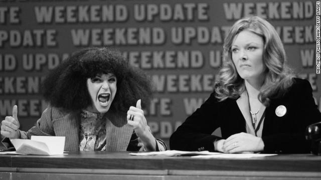 """Gilda Radner, left, as Roseanne Roseannadanna, with Jane Curtin during """"SNL's"""" """"Weekend Update."""""""