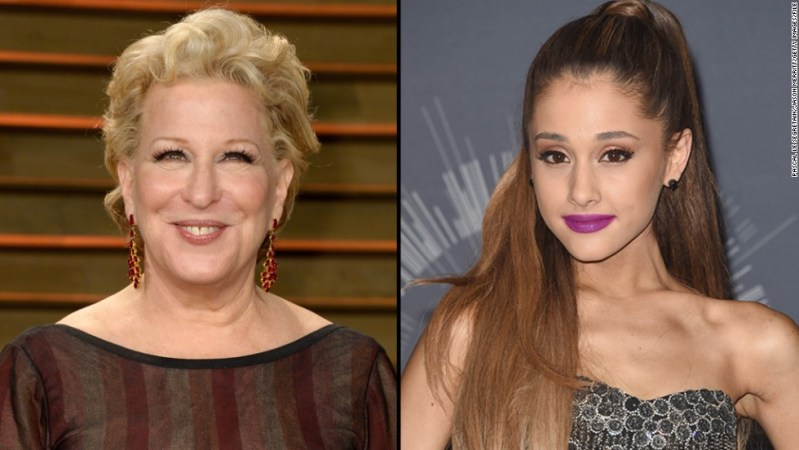 """In a recent interview with <a href=""""http://www.telegraph.co.uk/news/celebritynews/11246673/Bette-Midler-It-was-a-wonderful-life.html"""" target=""""_blank"""">the Telegraph</a>, Bette Midler criticized Ariana Grande's pop act as being needlessly sexy, calling it """"terrible,"""" """"ridiculous"""" and """"silly."""" When Grande heard about it, <a href=""""https://twitter.com/ArianaGrande/status/537366090087952384/photo/1"""" target=""""_blank"""">she called Midler out</a> for being hypocritical. It wasn't long before Midler <a href=""""https://twitter.com/BetteMidler/status/537396849682812928"""" target=""""_blank"""">bowed out of the fight, tweeting,</a> """"all I can say is, 'Spoken like a reformed old whore! She does have a beautiful voice, on a couch or off.' """""""