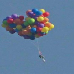 Chair With Balloons Casual Chairs For Office Balloon Man Soars In Lawn Lands Jail Cnn Canada Floats Up Movie 00005007