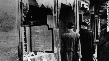 Jewish-owned shops and businesses were destroyed across Germany on Kristallnacht.