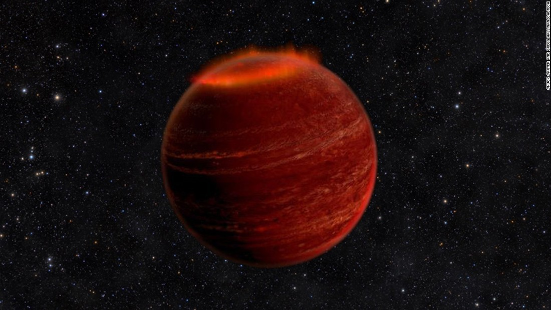 Astronomers have discovered powerful auroras on a brown dwarf that is 20 light-years away. This is an artist's concept of the phenomenon.