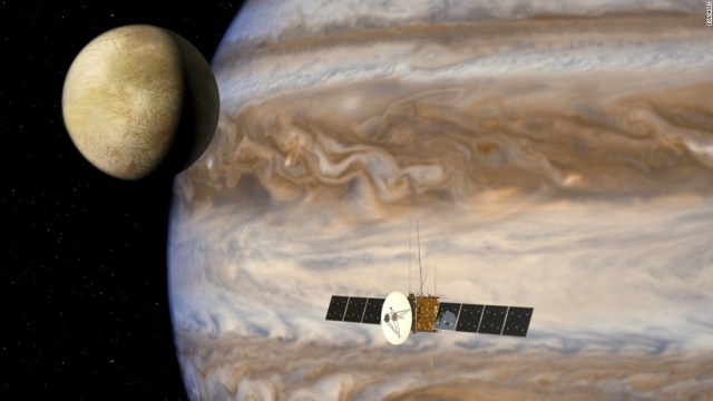Are there are oceans on any of Jupiter's moons? The Juice probe shown in this artist's impression aims to find out. Picture courtesy of ESA/AOES