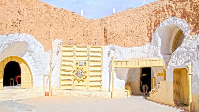 """<strong>Luke Skywalker's home (Hotel Sidi Driss, Matmata, Tunisia): </strong>Built centuries ago by indigenous Berbers, this subterranean cave homes were converted to a hotel which George Lucas used as Luke Skywalker's childhood home in the original """"Star Wars"""" film. It's still a hotel and contains props used in """"Attack of the Clones."""""""