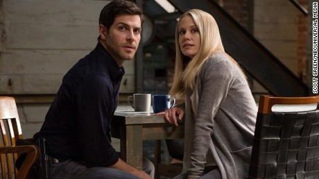 "David Giuntoli (left) as Nick Burkhardt and Claire Coffee (right) as Adalind Schade are shown in a scene from ""Grimm."""