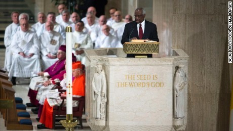 Thomas speaks during the funeral mass for Associate Justice Antonin Scalia on February 20, 2016, in Washington.