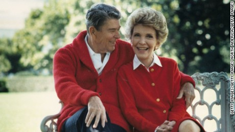 Former President Ronald Reagan and first lady Nancy in an undated photo.