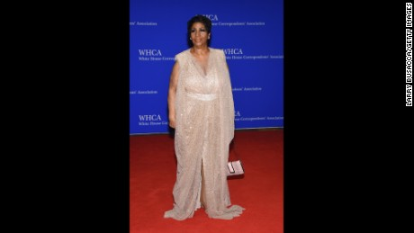 Aretha Franklin attends the 102nd White House Correspondents' Association Dinner in 2016, in Washington.