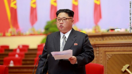 This photo taken on May 6, 2016 and released on May 7 by North Korea's official Korean Central News Agency (KCNA) shows North Korean leader Kim Jong Un making an opening speech during the 7th Workers Party Congress.