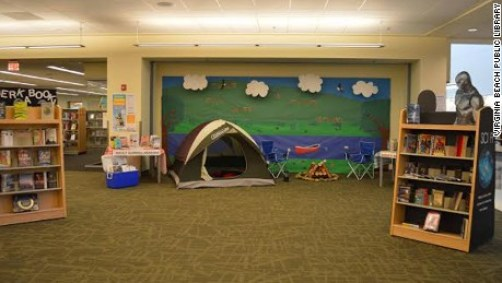 Image result for camping at the library