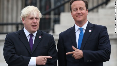 David Cameron, then prime minister, stands with then London mayor Boris Johnson before the 2012 London Paralympics.