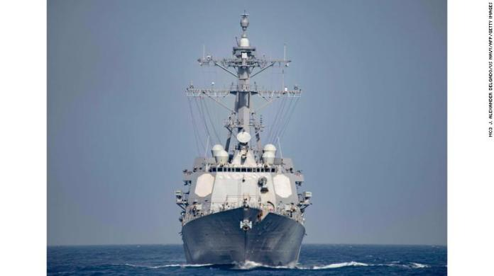 The guided-missile destroyer USS Nitze operates in the Mediterranean Sea in this file photo. The US Navy has two destroyer like the Nitze in position for a strike on Syria, officials say.