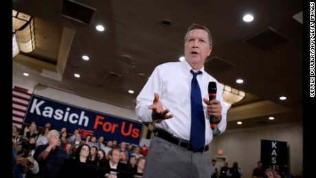 Republican presidential candidate John Kasich speaks during a town hall style campaign stop at the Crowne Plaza on April 19, 2016 in Annapolis, Maryland.