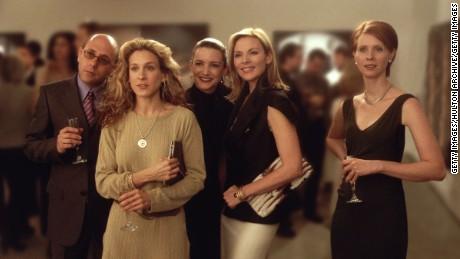 """sex and the city"" In Willie Garson, Sarah Jessica Parker, Kristian Davis, Kim Cattrall and Cynthia Nixon."