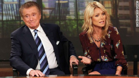 Regis Philbin and Kelly Ripa attend a press conference on Regis's departure from their TV talk show at ABC Studios on November 17, 2011, in New York City.