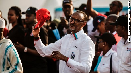 Rwandan President Paul Kagame campaigns during the 2017 presidential election.