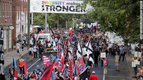 White nationalists and neo-Nazis march in  Charlottesville, Virginia, in August 2017.