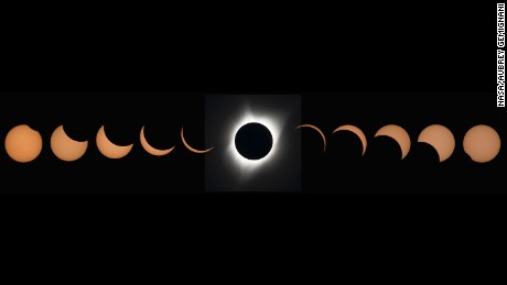 This composite image of eleven pictures shows the progression of a total solar eclipse at Madras High School in Madras, Oregon on Monday, August 21, 2017. A total solar eclipse swept across a narrow portion of the contiguous United States from Lincoln Beach, Oregon to Charleston, South Carolina. A partial solar eclipse was visible across the entire North American continent along with parts of South America, Africa, and Europe.