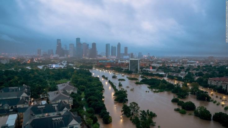 Hurricane Harvey aftermath, seen from Buffalo Bayou in Houston,.