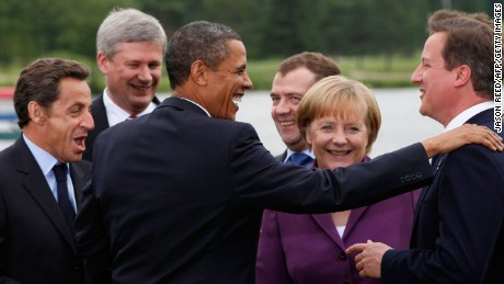 Merkel is seen here at the G8 Summit in Huntsville, Ontario in 2010, with Barack Obama, Nicolas Sarkozy, David Cameron, Dmitry Medvedev and Stephan Harper - all of whom have come and gone during her tenure.