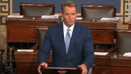 In this image from video from Senate Television, Sen. Jeff Flake, R-Ariz., speaks on the Senate floor Tuesday, Oct. 24, 2017, at the Capitol in Washington. Flake announced he will not run for re-election in 2018. (Senate TV via AP)