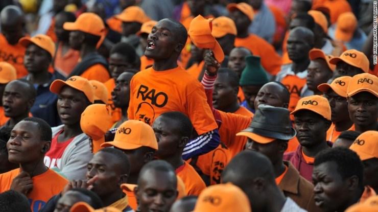 Supporters of the National Super Alliance (NASA) opposition leader Raila Odinga gather at Uhuru Park in Nairobi on Wednesday.