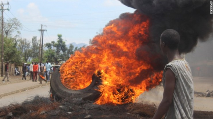 Opposition supporters burn tyres during protests in Kisumu, Kenya, on Thursday.