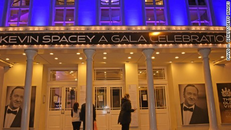 Kevin Spacey was honored for his tenure as artistic director at The Old Vic Theatre at a gala celebration in April 2015.