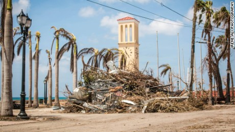 Maria's massive winds left piles of debris all over the island.