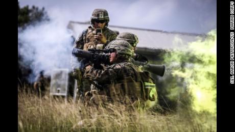 US Marines trains at Camp Hansen, Japan, in 2017.