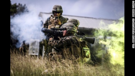 U.S. Marines train at Camp Hansen, Japan in 2017.