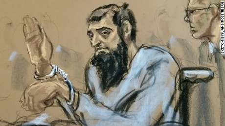A sketch shows Sayfullo Habibullaevic Saipov during his first court appearance in New York on Wednesday.