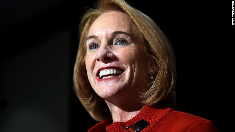Seattle mayoral candidate Jenny Durkan smiles as she addresses supporters at an election night party Tuesday in Seattle.