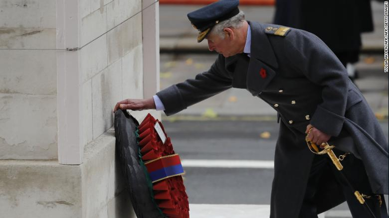 Britain's Prince Charles lays a wreath during the Remembrance Sunday ceremony at the Cenotaph.