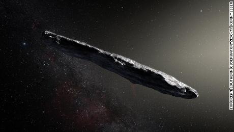 A photo illustration shows the first interstellar asteroid: `Oumuamua.
