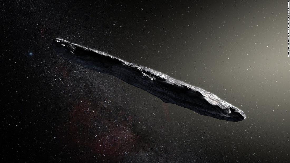 'Oumuamua, the first observed interstellar visitor to our solar system, is shown in an artist's illustration.