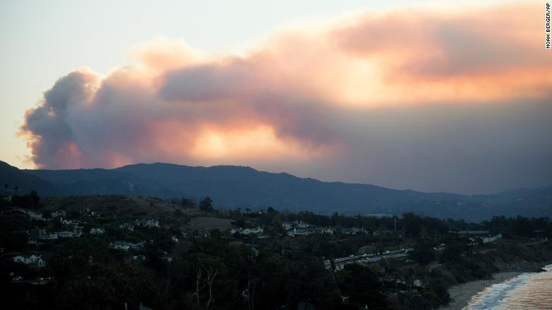 Smoke billows over Ventura on December 5.