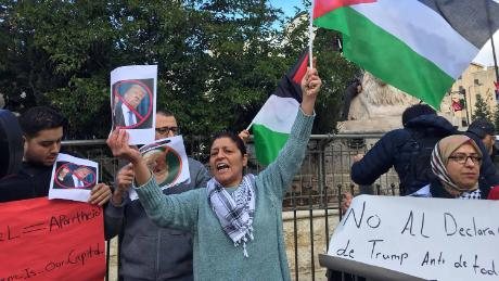 Rania came to al-Manara square on Thursday to join others in calling for a Palestinian uprising.