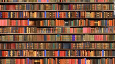 An image of shelved library books.