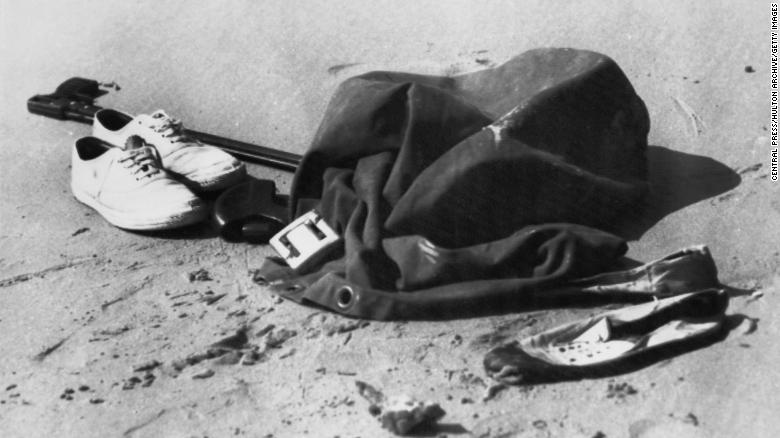 The clothes and spearfishing equipment left on Cheviot Beach near Portsea, Victoria by Australian Prime Minister Harold Holt, who went missing while swimming in December 1967.