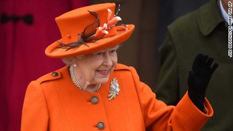 Queen Elizabeth II leaves the Christmas Day morning church service.