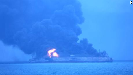 A fire engulfed parts of the Sanchi after the catastrophic collision January 7.