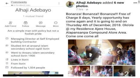 Alhaji Adebola's Facebook profile