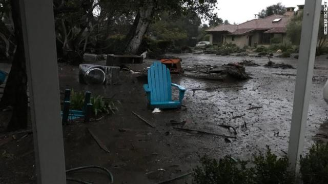 Debris litters the area near Ben Hyatt's home Tuesday in Montecito.